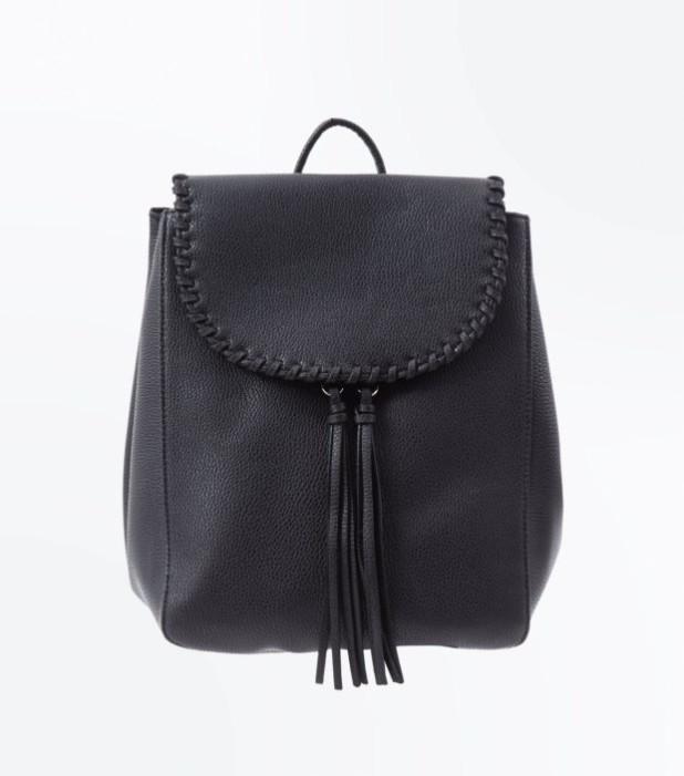 Модный черный кожаный рюкзак 2018-2019