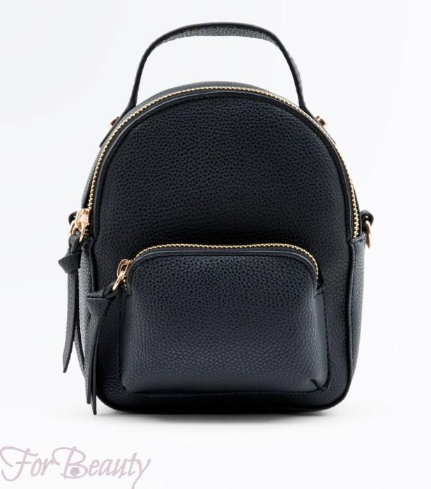 Модный черный кожаный рюкзак 2018