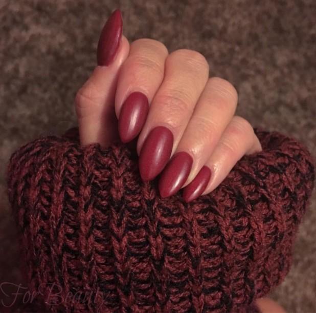Маникюр бордовый 2018 на длинных ногтях