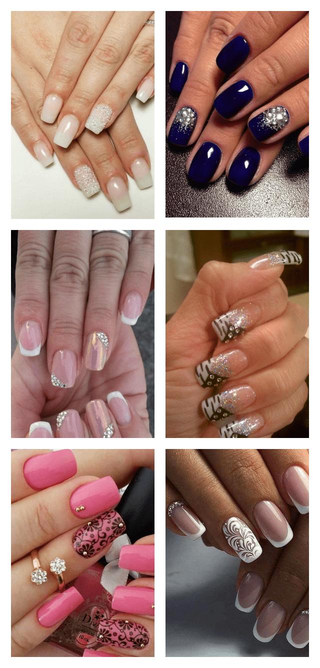 длинный дизайн ногтей с кристаллами пикси фото