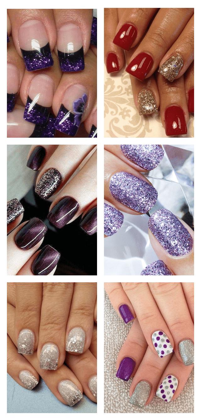 длинный дизайн ногтей с блестками фото