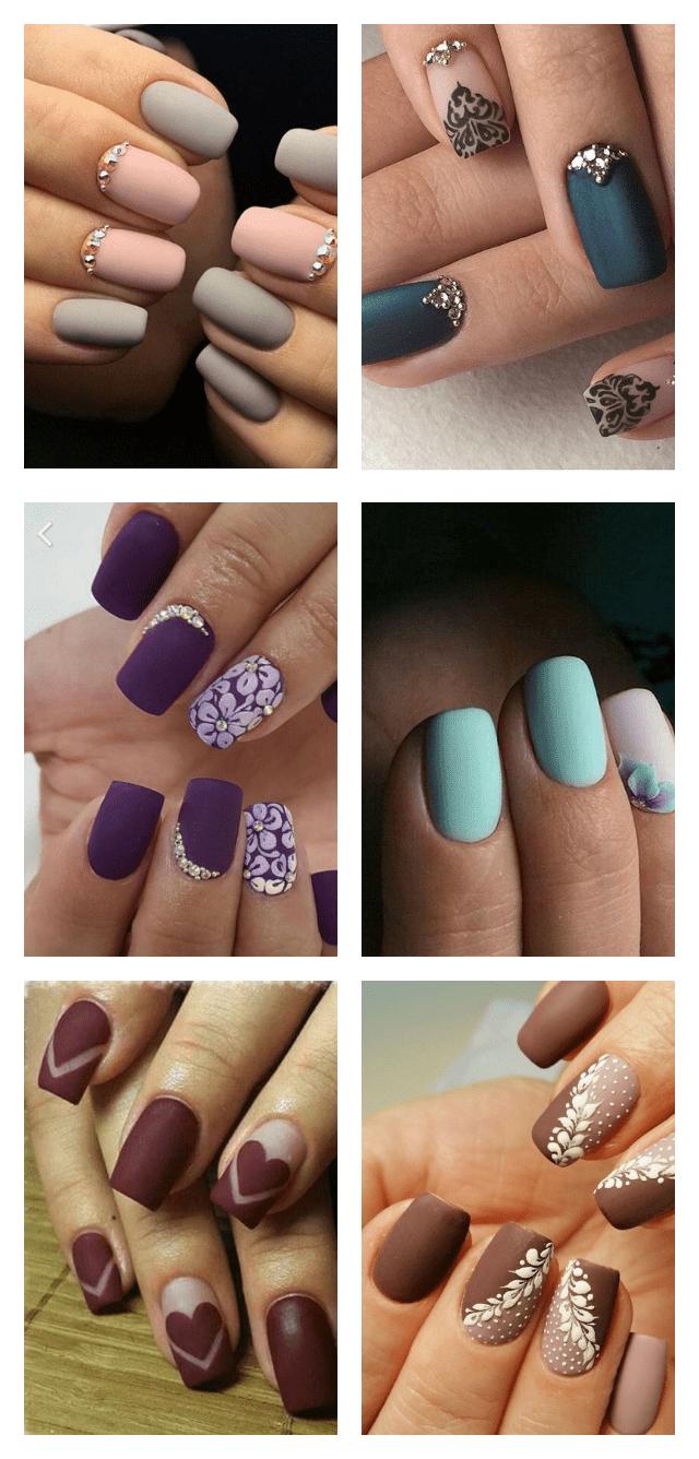 Матовый длинный дизайн ногтей фото