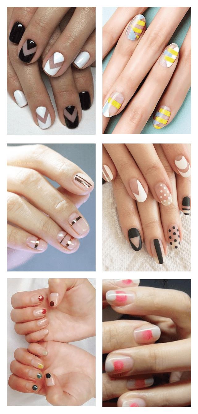 длинный дизайн ногтей negativespace фото