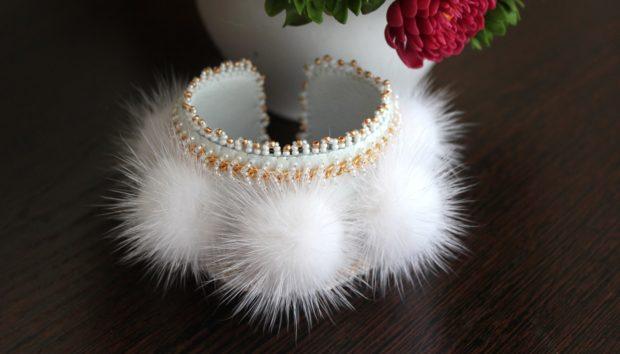 женские браслеты с мехом фото
