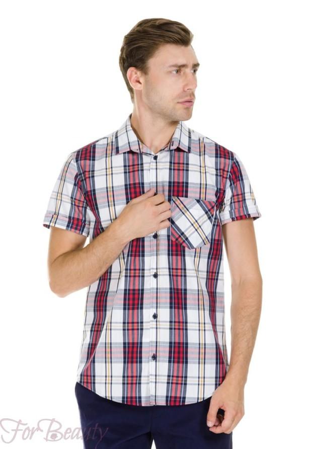 мужские рубашки мода 2018: клетчатая с коротким рукавом