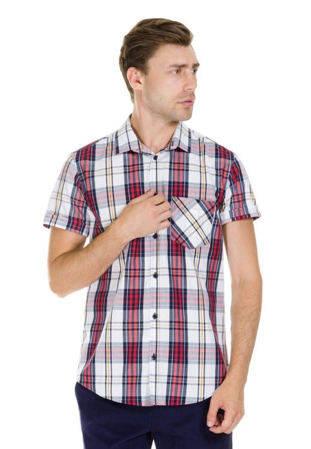 мужские рубашки 2018 2019: клетчатая с коротким рукавом