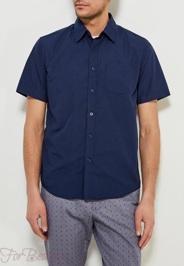 мужские рубашки мода 2018: синяя с коротким рукавом