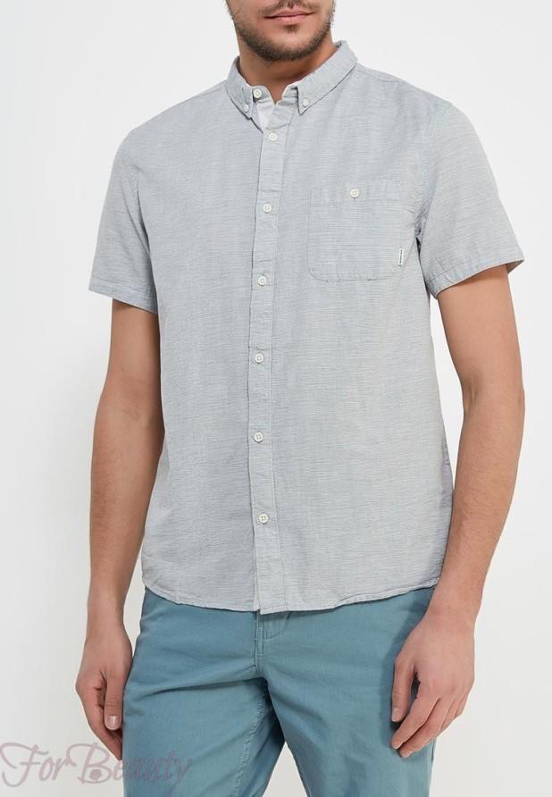 мужские рубашки мода 2018: серая с коротким рукавом