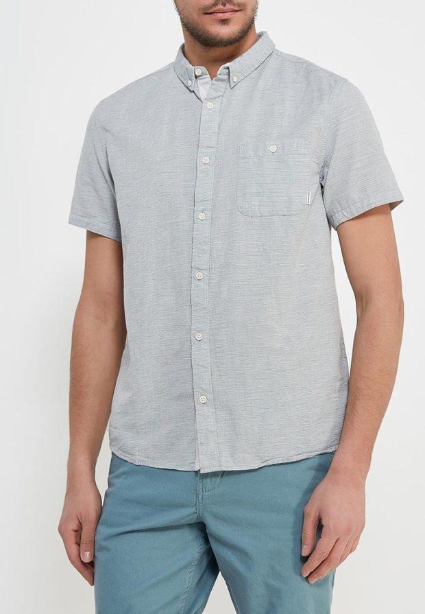 мужские рубашки 2018 2019: серая с коротким рукавом