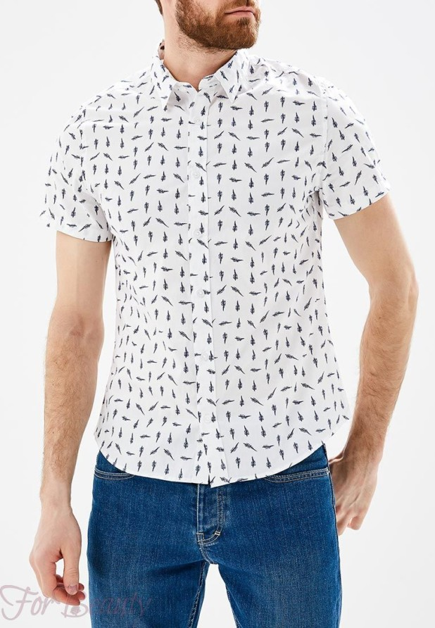 белая мужская рубашка с коротким рукавом 2018