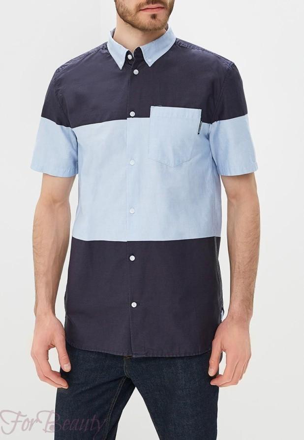 синяя с голубым мужская рубашка с коротким рукавом 2018