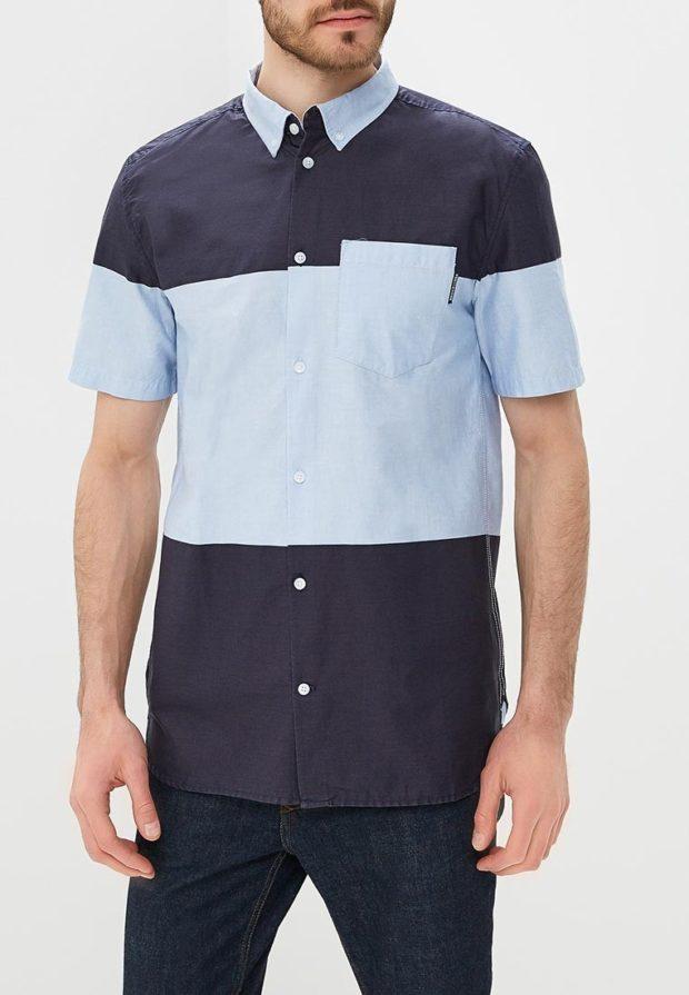 мужские рубашки 2018 2019: синяя с голубым с коротким рукавом