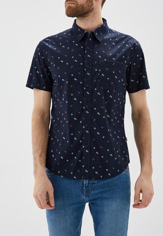мужские рубашки 2018 2019: синяя с коротким рукавом