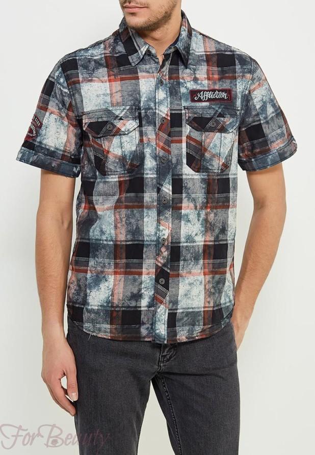 клетчатая мужская рубашка с коротким рукавом 2018