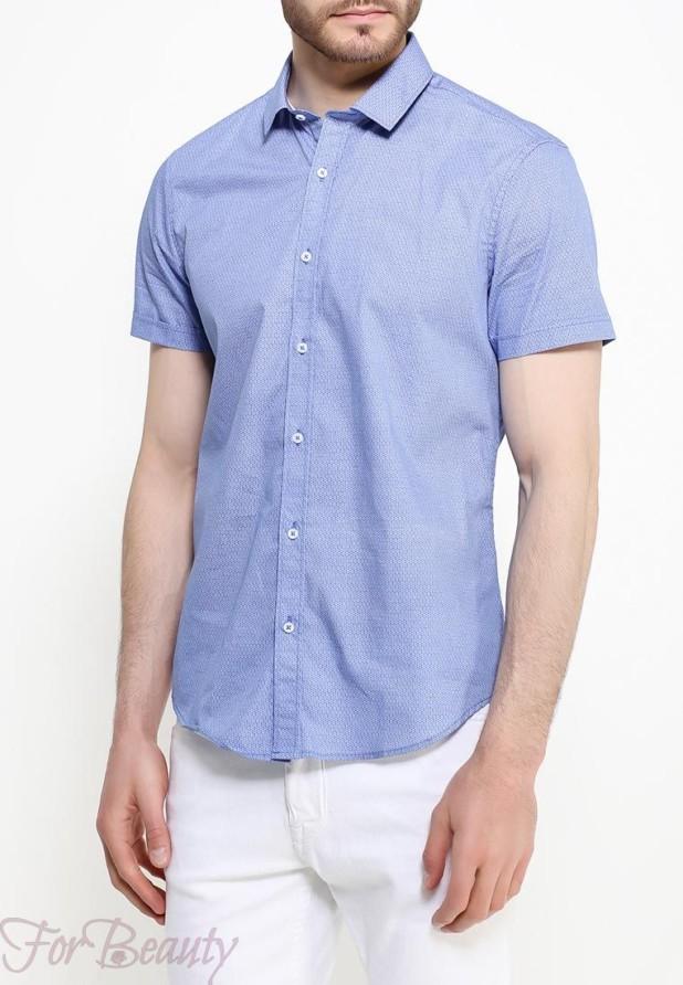 мужские рубашки мода 2018: голубая с коротким рукавом