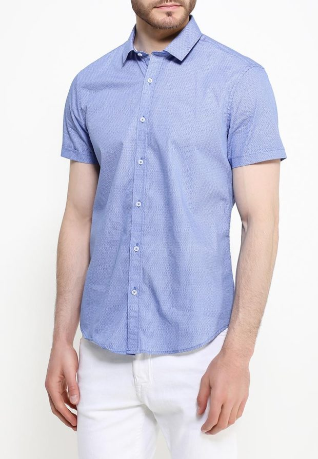 мужские рубашки 2018 2019: голубая с коротким рукавом
