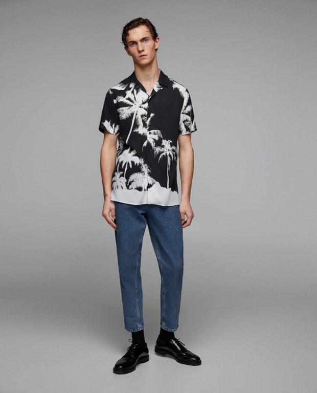 модные мужские рубашки 2018 2019: спринтом черная пальмы
