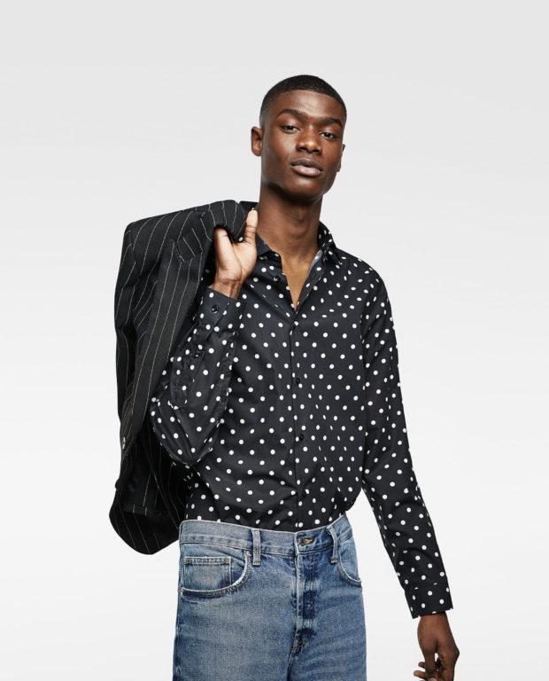 модные мужские рубашки 2018 2019: спринтом черная горох