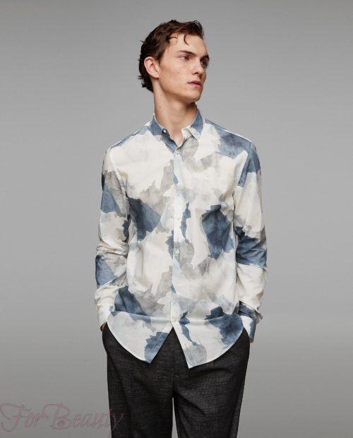 модные мужские рубашки 2018: спринтом синие пятна