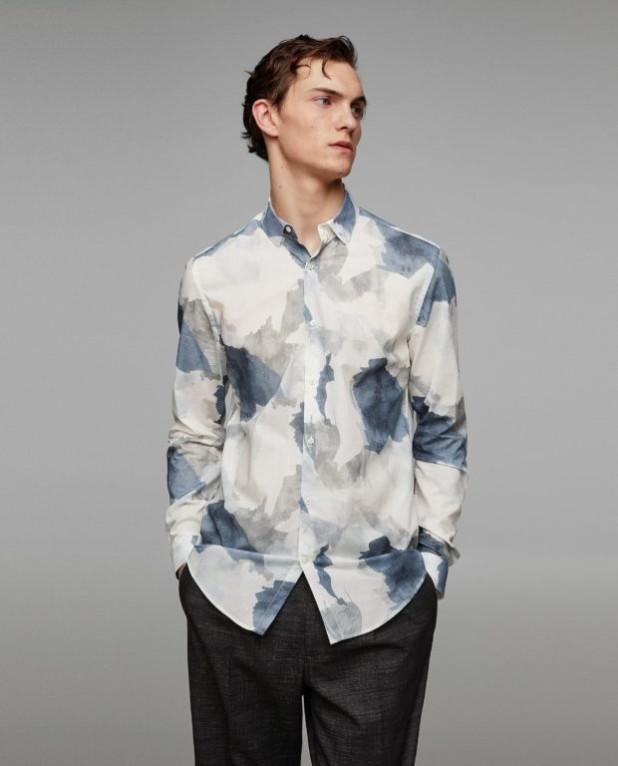 модные мужские рубашки 2018 2019: спринтом синие пятна