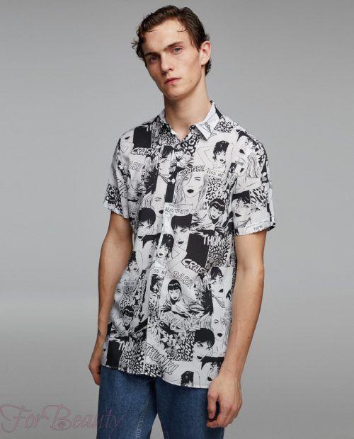 модные мужские рубашки 2018: спринтом лица черно-белые