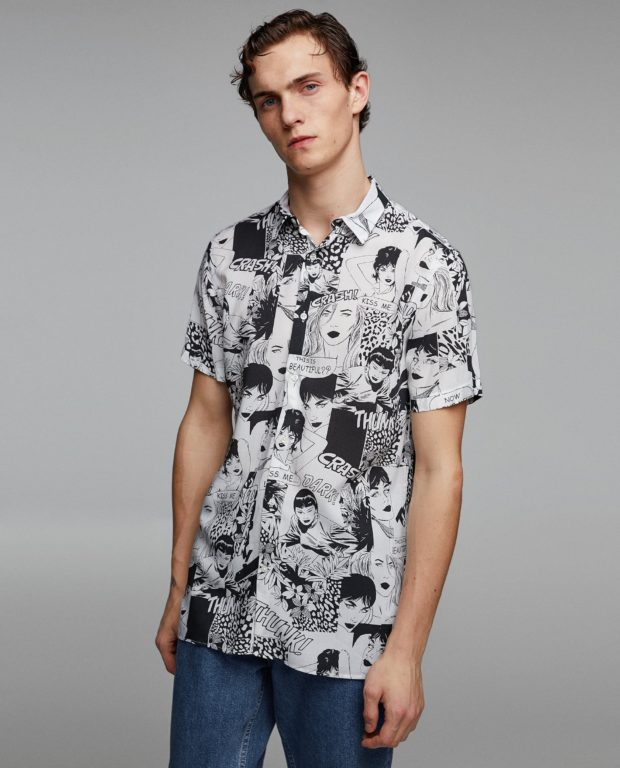 модные мужские рубашки 2018 2019: спринтом лица черно-белые