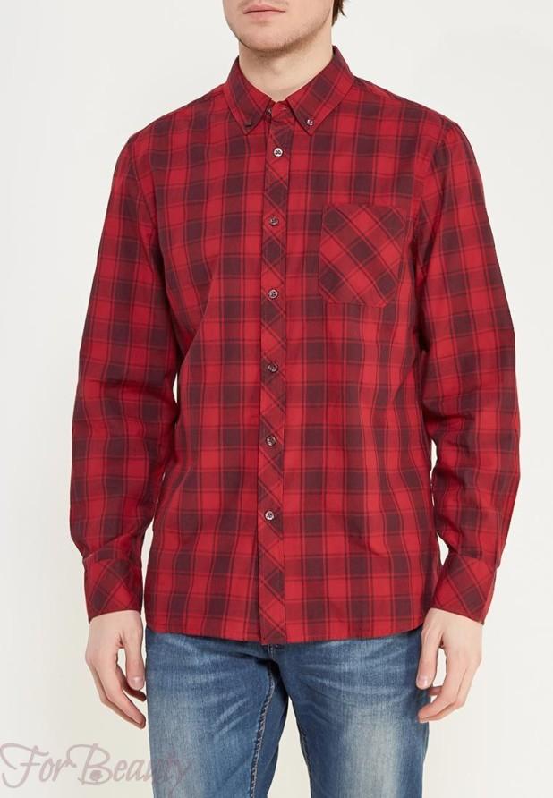 мужские рубашки мода 2018: в клетку красная