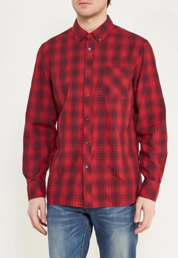 мужские рубашки 2018 2019: в клетку красная