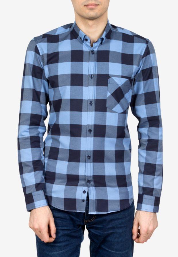 мужские рубашки 2018 2019: в клетку голубая