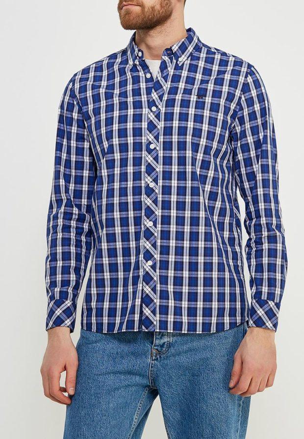 мужские рубашки 2018 2019: в клетку синюю
