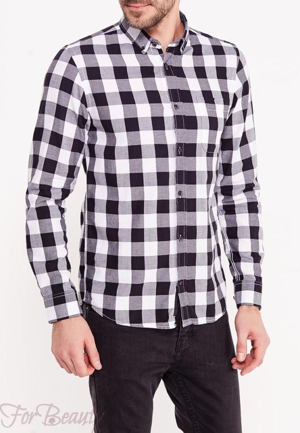 мужские рубашки мода 2018: в клетку черно-белая