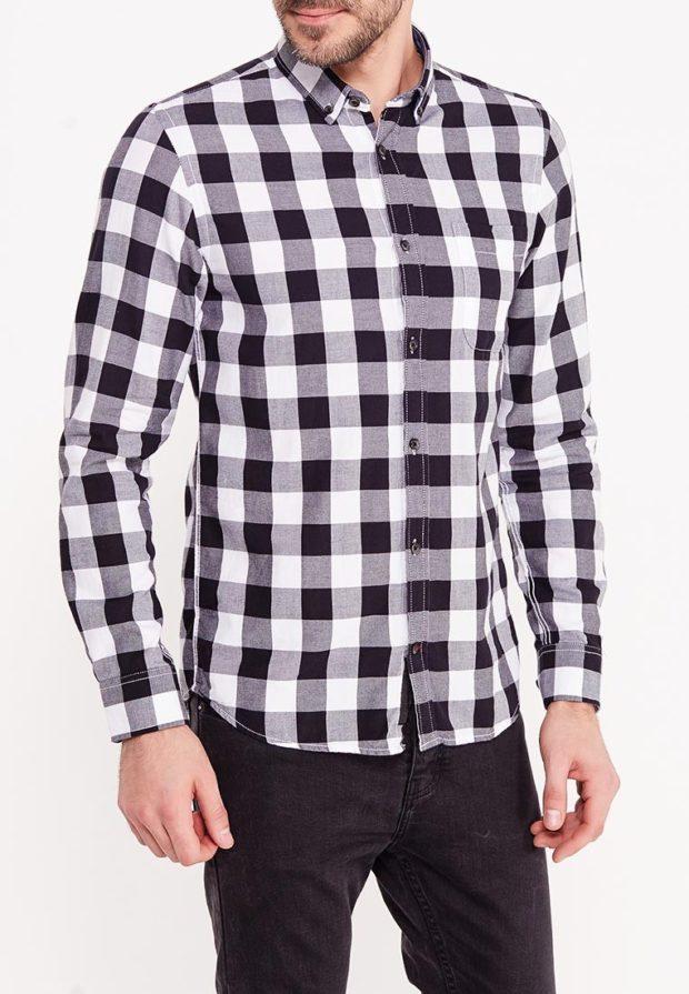 мужские рубашки 2018 2019: в клетку черно-белая