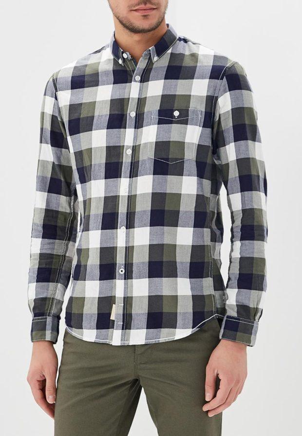 мужские рубашки 2018 2019: в клетку хаки