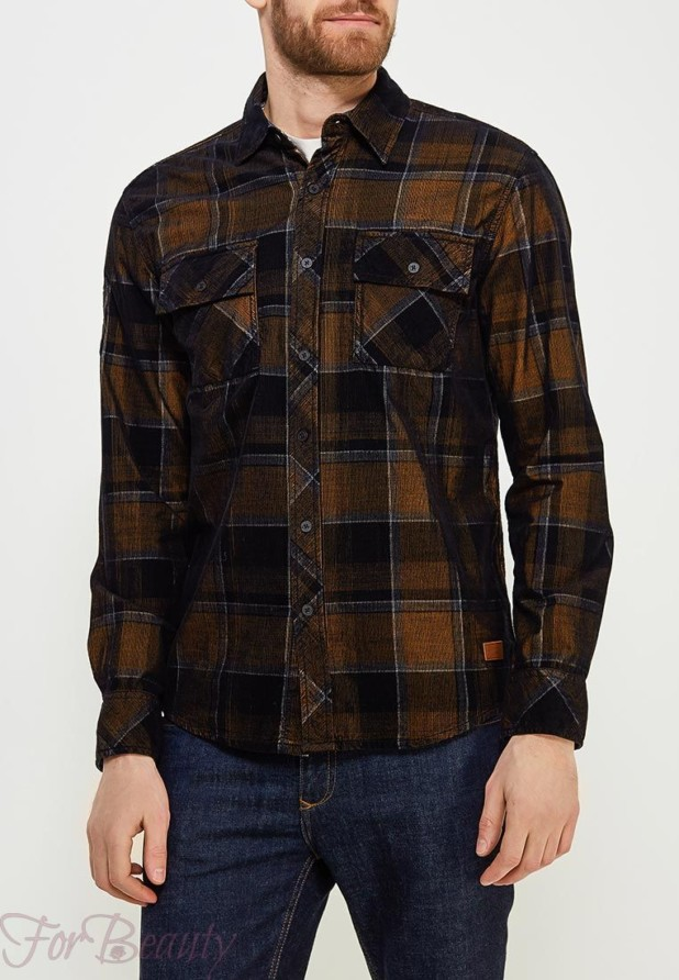 мужские рубашки мода 2018: в клетку коричневая