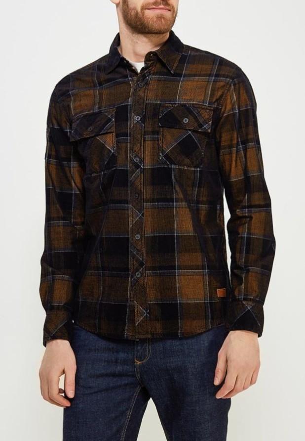 мужские рубашки 2018 2019: в клетку коричневая