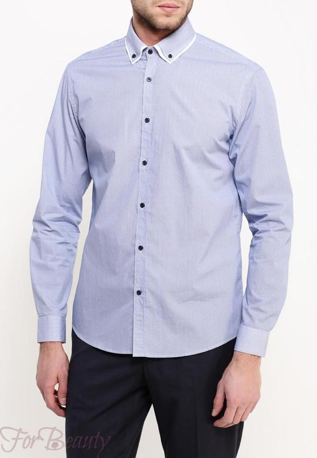 Модная голубая мужская рубашка 2018