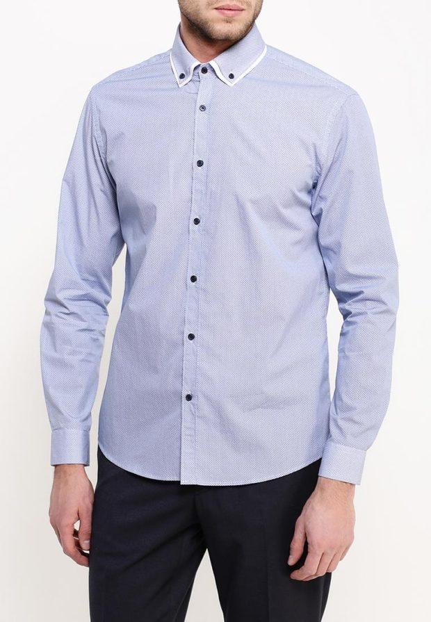 модные мужские рубашки 2018 2019: голубая