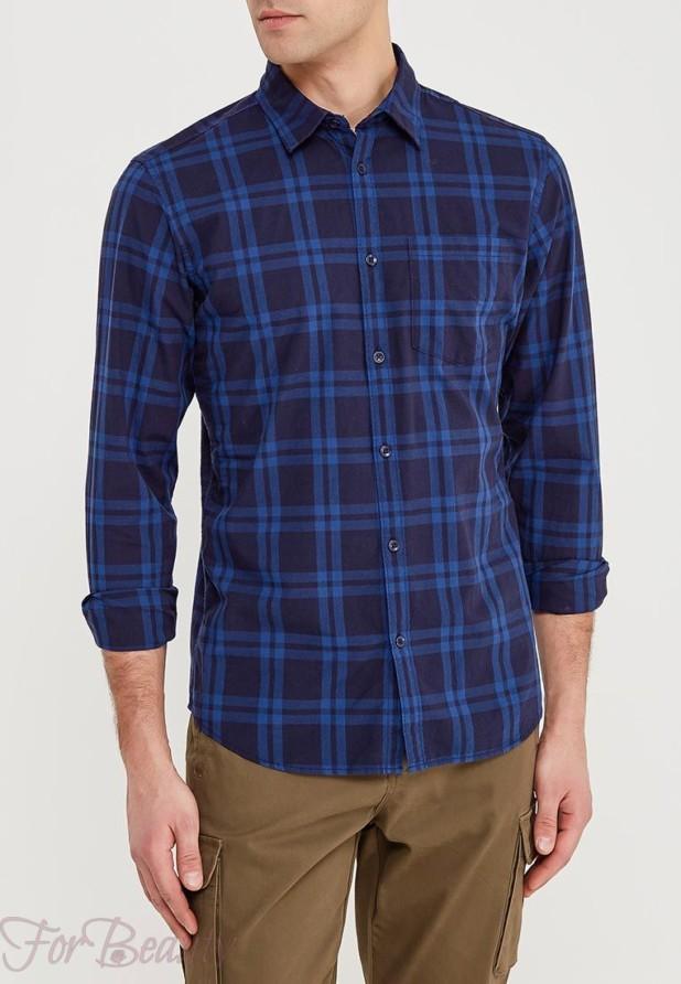 мужские рубашки мода 2018: в клетку темно синяя