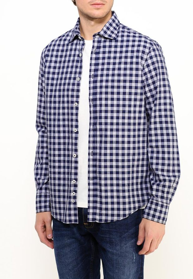 мужские рубашки 2018 2019: в клетку белая синяя
