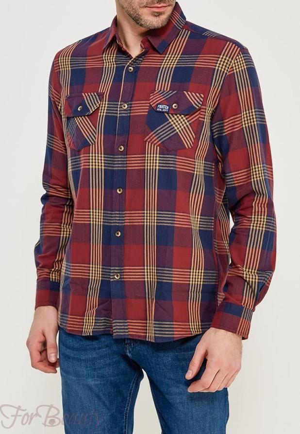 мужские рубашки мода 2018: клетка красная синяя