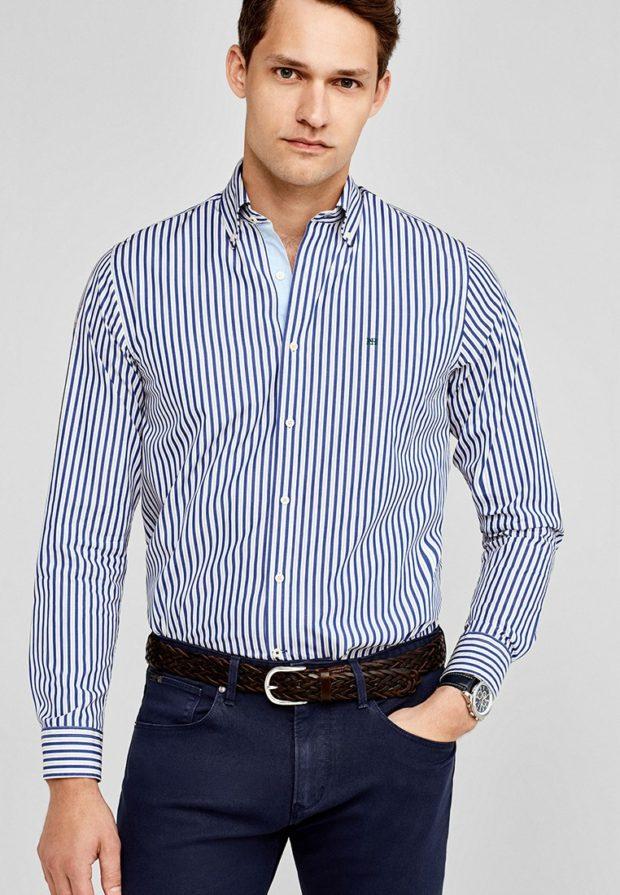 мужские рубашки: в полоску синюю