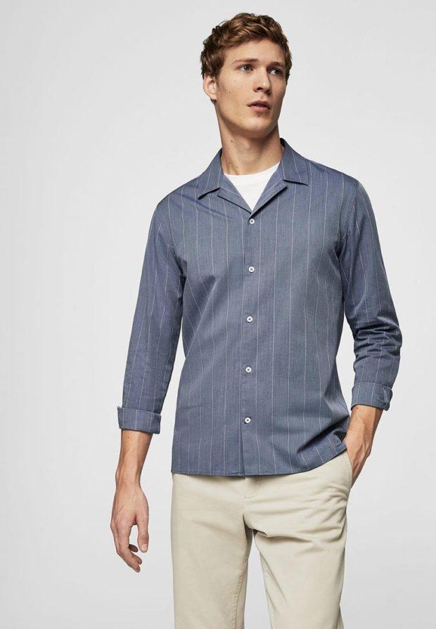 мужские рубашки: в полоску серая