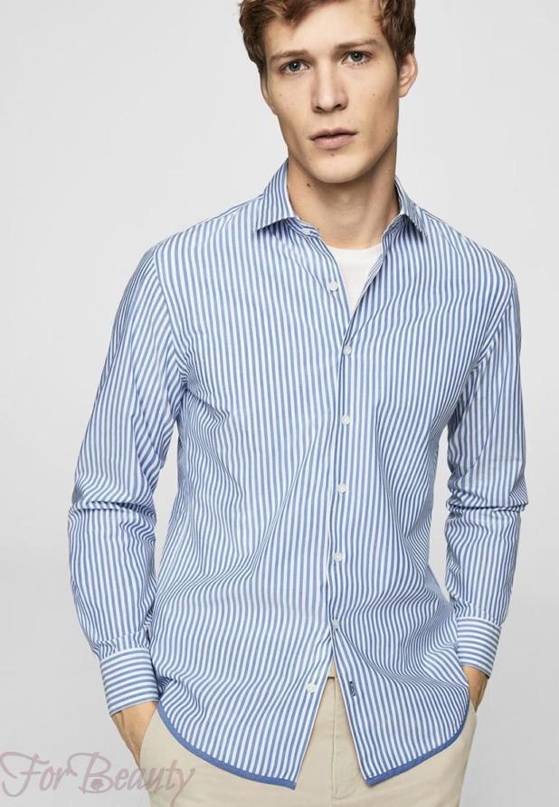 мужские рубашки 2018 мода: в полоску синюю