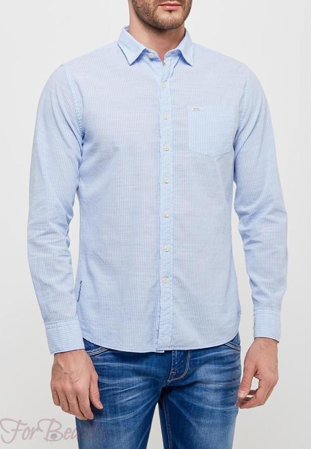 мужские рубашки 2018 мода: в полоску белую