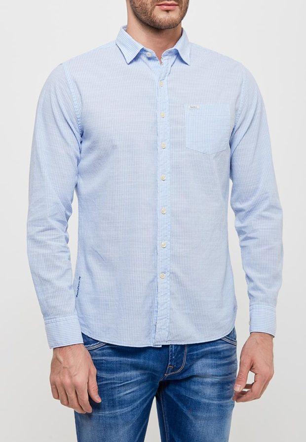 мужские рубашки: в полоску белую