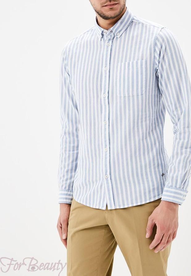 мужские рубашки 2018 мода: в полоску голубую