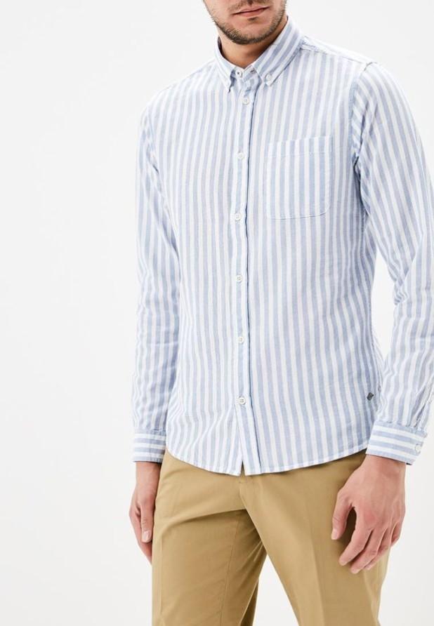 мужские рубашки: в полоску голубую