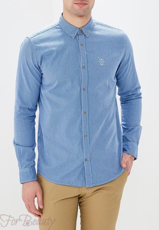 мужские рубашки 2018 мода: в полоску синяя