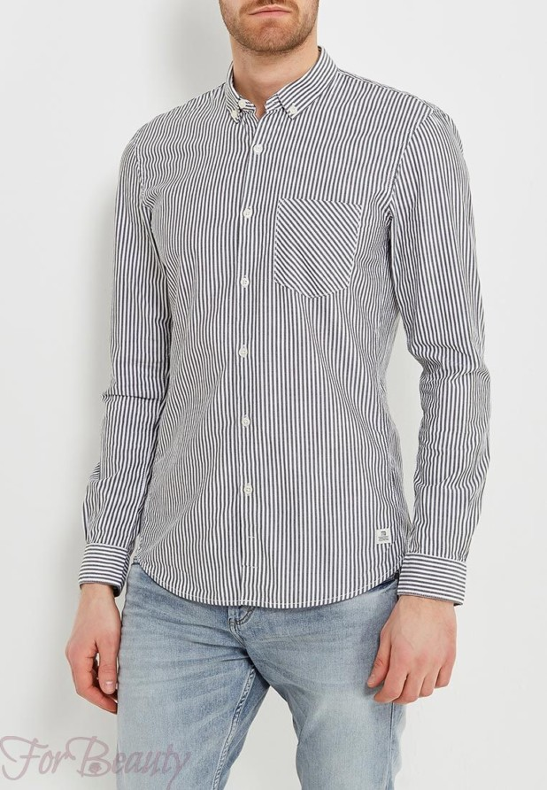 мужские рубашки 2018 мода: в полоску черную