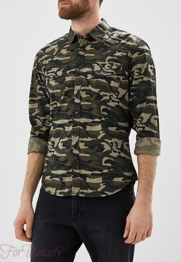 мужские рубашки 2018 года модные тенденции:милитари хаки